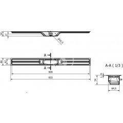 I-Drain Nerezový sprchový žlab, délka 900 mm, s hydroizolací ID4M09001X1