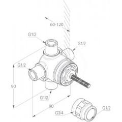 Kludi Těleso pro třícestný ventil pod omítku DN15 29757