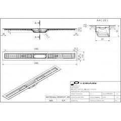 I-Drain ABS sprchový žlab s hydroizolací, délka 1000 mm IDABS4M10001X1