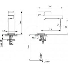 Ideal Standard Umyvadlová baterie Slim, chrom A7103AA