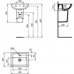 Ideal Standard Umývátko 450x360x170 mm, 1 otvor pro baterii, bílá K284801