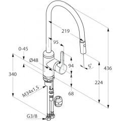 Kludi Páková dřezová baterie s vytažitelnou sprškou, chrom 428520578