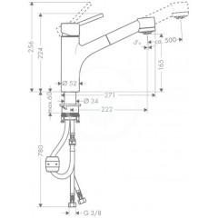 Hansgrohe Páková dřezová baterie s vytahovací sprškou, chrom 32841000