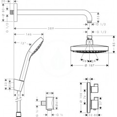 Hansgrohe Sprchový set 180 s termostatem Ecostat S, 2 proudy, chrom 27295000