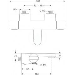 Ideal Standard Termostatická vanová baterie, chrom A4630AA
