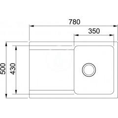 Franke Tectonitový dřez OID 611-78, 780x500 mm, bílá 114.0288.585