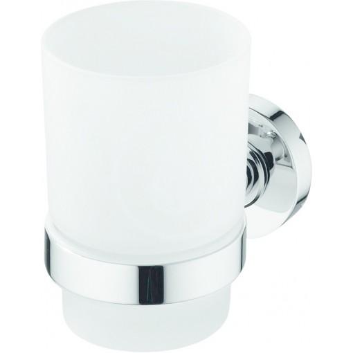 Ideal Standard Sklenka na kartáčky a pastu s držákem, satinované sklo/chrom A9120AA