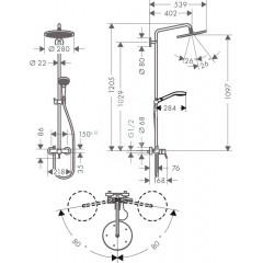 Hansgrohe Sprchový set Showerpipe 280 s baterií, chrom 26791000