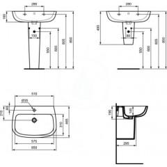 Ideal Standard Umyvadlo, 650x465 mm, bílá T279701