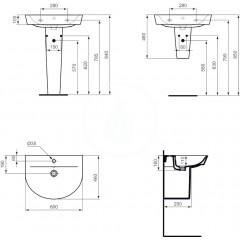 Ideal Standard Umyvadlo Arc, 600x450 mm, bílá E069401