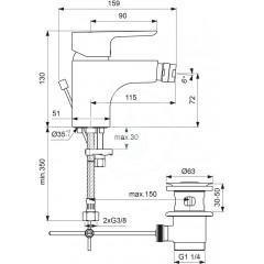 Ideal Standard Bidetová baterie s odtokovou soupravou, chrom B0897AA