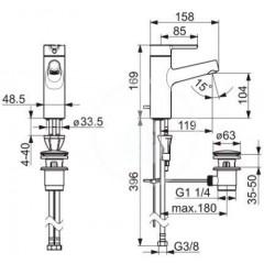 Hansa Umyvadlová baterie s výpustí, chrom 51712283
