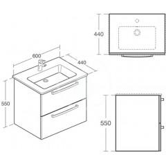 Ideal Standard Skříňka pod umyvadlo 600x440x550 mm, lesklý lak bílý E3240WG