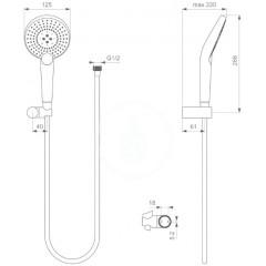 Ideal Standard Sprchová souprava Circle 125, hadice s ruční sprchou, 3 proudy, chrom B2459AA