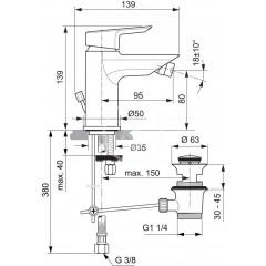 Ideal Standard Bidetová baterie s odtokovou soupravou, chrom A6579AA