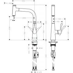 Hansgrohe Páková dřezová baterie 240 s vytažitelným výtokem, chrom 14857000