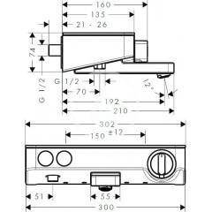 Hansgrohe Termostatická vanová baterie 300, chrom 13151000