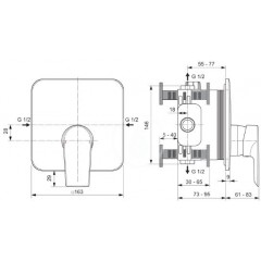 Ideal Standard Sprchová baterie pod omítku, chrom A7123AA