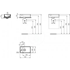 Ideal Standard Umývátko 450x270 mm, otvor pro baterii vlevo, bílá T299501