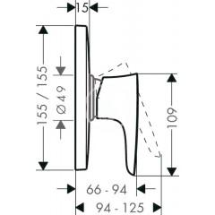 Hansgrohe Páková sprchová baterie HighFlow pod omítku, chrom 15677000