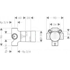 Hansgrohe Základní těleso pro čtyřcestný přepínací ventil pod omítku 15930180