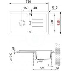Franke Kuchyňský set G89, granitový dřez STG 614-78, šedý kámen + baterie FC 9541, šedý kámen 114.0366.006