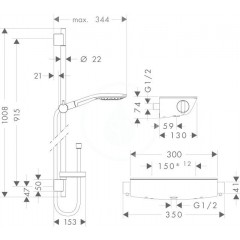 Hansgrohe Sprchový set s termostatem, 150 mm, 3 proudy, bílá/chrom 27037400