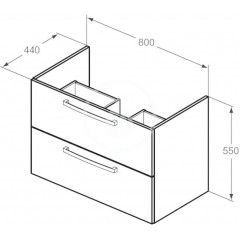 Ideal Standard Skříňka pod umyvadlo 800x440x550 mm, dub pískový E3242OS