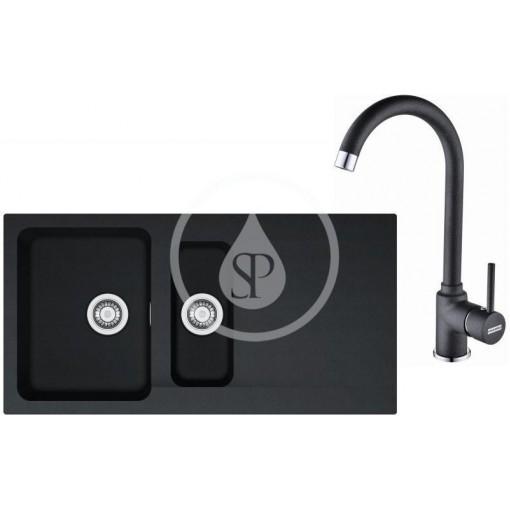 Franke Kuchyňský set T45, tectonitový dřez OID 651, černá + baterie FP 9000.099, grafit 114.0441.230