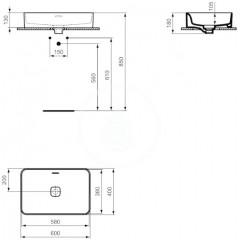 Ideal Standard Umyvadlo 600x400 mm, bez otvoru pro baterii, s Ideal Plus, bílá T2999MA