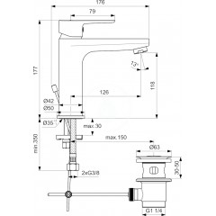 Ideal Standard Umyvadlová baterie s výpustí, chrom BC201AA