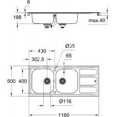 Grohe Dřez K400 s automatickým odtokem, 1160x500 mm 31587SD0