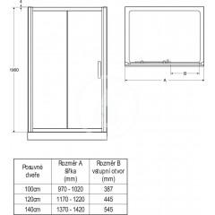 Ideal Standard Sprchové dveře 1200 mm, lesklá stříbrná/čiré sklo L6392EO