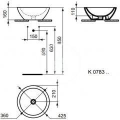 Ideal Standard Umyvadlo kruhové, průměr 425 mm, bílá K078301