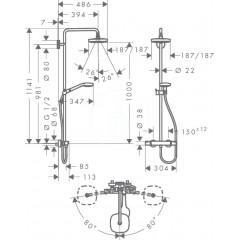 Hansgrohe Sprchový set Showerpipe 180 s termostatem, 2 proudy, EcoSmart 9 l/min, bílá/chrom 27257400