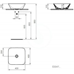 Ideal Standard Umyvadlo na desku 400x400x130 mm, bílá E034701