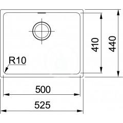 Franke Tectonitový dřez SID 110-50, 525x440 mm, bílá 125.0363.788