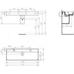 Ideal Standard Umyvadlo 1200x430 mm, 2 otvory pro baterii, bílá T359501