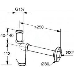 Kludi Trubkový sifon, chrom 1036105-00