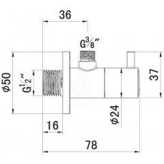 Kludi Rohový ventil, chrom 1584505-00