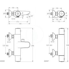 Ideal Standard Termostatická vanová baterie, chrom A5550AA