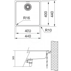 Franke Dřez MRX 210/610-40, 440x440x180 mm, nerez 127.0539.540