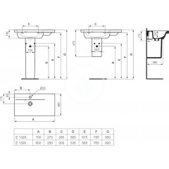 Ideal Standard Umyvadlo 600x380x175 mm, s 1 otvorem pro baterii, bílá E132601