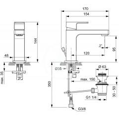 Ideal Standard Umyvadlová baterie Slim s výpustí, chrom A7101AA