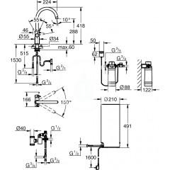 Grohe Dřezová baterie Duo s ohřevem vody a filtrací, zásobník L, supersteel 30079DC1