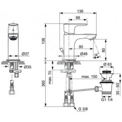 Ideal Standard Umyvadlová baterie Piccolo Slim s výpustí, chrom A7014AA