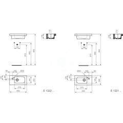 Ideal Standard Umývátko nábytkové 450x250x130 mm, 1 otvor pro baterii vlevo, bílá E132201