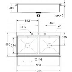 Grohe Dřez K800 s automatickým odtokem, 1024x560 mm 31585SD0