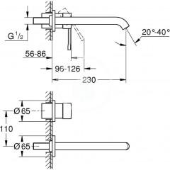 Grohe Umyvadlová 2-otvorová baterie, chrom 19967001