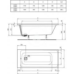 Ideal Standard Vana 1800 x 800 mm, s přepadovou a napouštěcí soupravou, bílá E397501